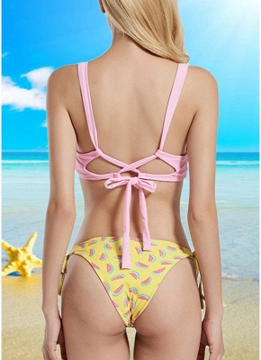 Women Strappy Sexy Bikini Set Backless Print Summer Beach Bathing Suit Swimwear_3