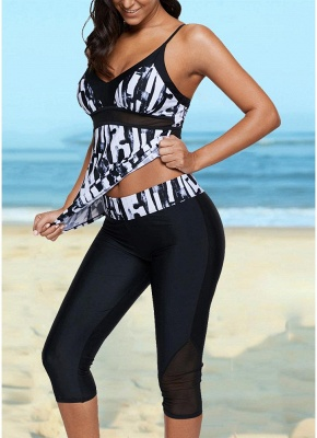 Vintage Women Tankini Capris Deep V Printed Cross Over Backless Swimsuit_5