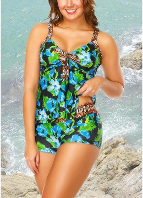 Flower Strap Tankini Top Shorts Set Bathing_4