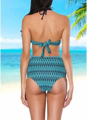 Women  Sexy Bikini Set Halter Geometric Print Swimsuit Beach Wear Two Piece_3