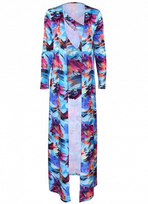 Women Floral Paint Two Piece Set Swimsuit Beach Cover Up Swimwears_6