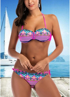 Halter Geometric Print Bandage Underwire Push Up Sexy Bikini Set_1