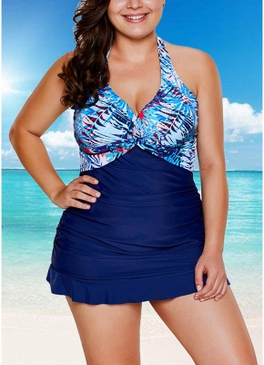 Sale blue 2xl  Women Tankini Set Swimsuit Printed Padded Top Backless High Waist  Two Piece Swimwear Blue from Chicuu. Best affordable Tankinis online store, cheap discounts are waiting for you._1