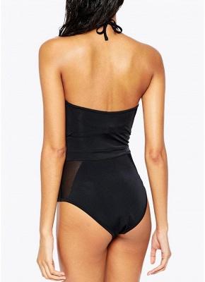 Women One Piece Mesh Swimsuit High Waist Halter Tie Swimwear Beach Playsuit_4