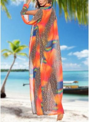Women Leopard Print Chiffon Cardigan Sexy Bikini CoverUp Beach Boho Outwear Maxi Coverups_4