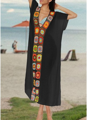 size Crochet Knit Deep V-Neck Short Sleeve Side Split Beach Cover Up_5
