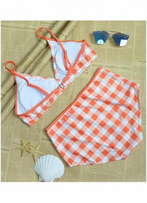 Women Plaid Print Sexy Bikini Set Backless Summer Beach Bathing Suit Swimwear_5