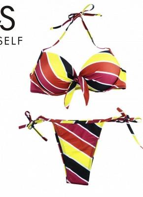 Contrast Stripe Underwire Padded Cup Tie Sexy Bikini Set Swimsuit_19