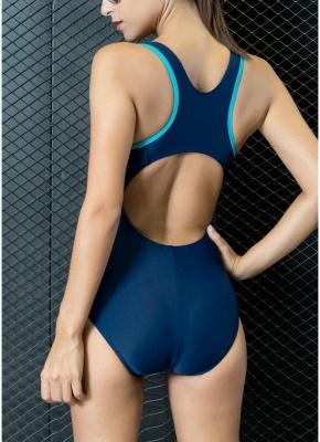 Women One-piece Swimsuit Contrast Color Padded Monokini  Swimwear_6