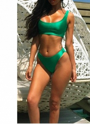 Solid Color Round Neck Sleeveless Women's Two Piece Swimsuit_1