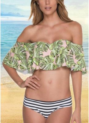 Off the Shoulder Ruffles Striped Leaf Print Bathing Sexy Bikini Set_1