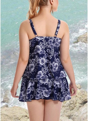 10xl Plus Size Floral Print Spaghetti Strap Summer Swimsuit_5