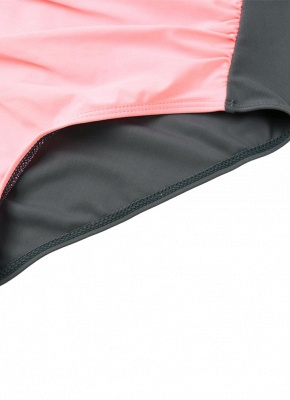 Women's Contrast Color Block Underwire Halter Top High Waist Bottom Sexy Bikini Set_10