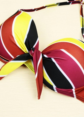 Contrast Stripe Underwire Padded Cup Tie Sexy Bikini Set Swimsuit_5