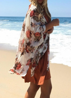 Boho Chiffon Floral Print Open Front Women's Long Kimono_3