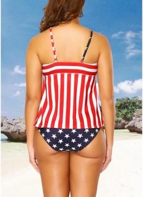 Plus Size Stars Stripes Print Hollow Out Front Sexy Bikini Set_4