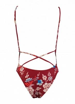 Women One Piece  Floral Pint Backless Padded Swimsuit Beach Wear_6