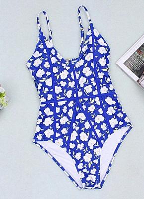Women One-Piece Swimsuit Floral Print Cut Out Back  Playsuit Jumpsuit Rompers_1