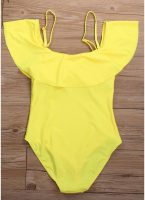 Women Off the Shoulder Swimsuit Ruffles Spaghetti Straps Padded Solid_3