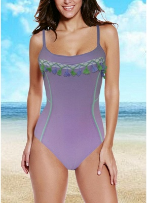Women One-piece Swimsuit Fringed Tassels Crisscross Bandage Monokini  Swimwear_1