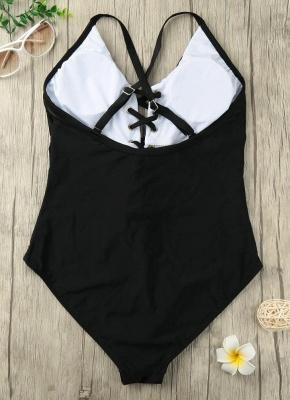Plunge V Neck Crisscross Bandage Solid One-piece Swimsuit_10