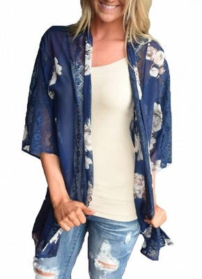 Summer Chiffon Cardigan Floral Print Hollow Out Women's Kimono_1