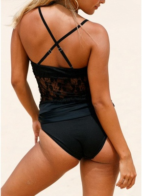 Women One-piece Swimsuit Lace High Neck Halter Padded Swimwear Bathing Suit_4