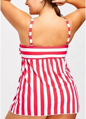 Plus Size Striped Swimsuit Push Up  Backless Bathing_5