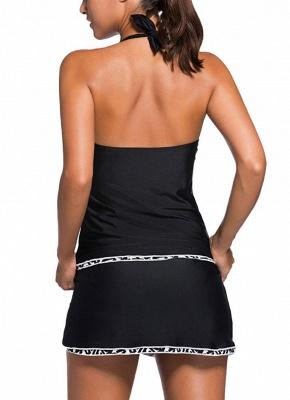 V Neck Halter Backless Skort Bottom Ruched Women's Tankini_3
