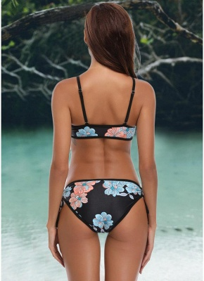 Triangle Flower Print Bandage Strappy Push Up Hollow Out Sexy Bikini Set_4