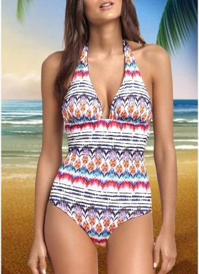 Women One-piece Swimsuit Colorful Striped Halter Monokini Swimwear Bathing Suit_1