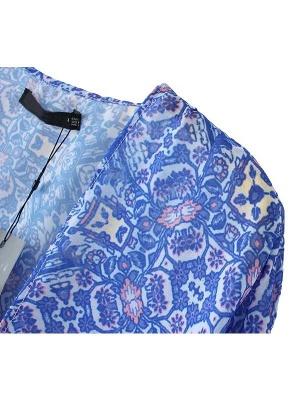 Vintage Retro Print Tassel Fringe Sheer Chiffon Blue Kimono_6