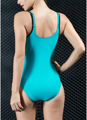 Women Sports One Piece Swimsuit Swimwear Backless Splice Racing Training Bathing Suit_3