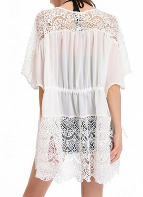 Lace Detailed Chiffon Cover Up Kimono_4