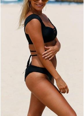 Women Tankini Swimsuits Lace up Padded Wireless Two Pieces Sexy Bikini Set_5