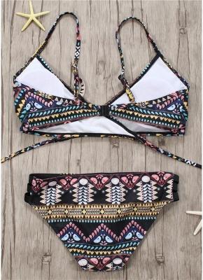 Women Exotic Print Sexy Bikini Set Cross Front Bandage Swimsuit_3