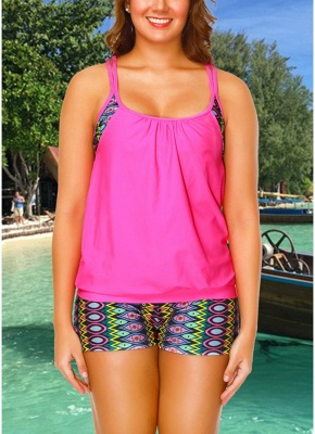 Geometric Print Sleeveless Backless Padded Wireless Swimsuit_1