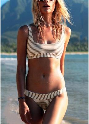 Women Brazilian Sexy Bikini Set Swimsuit Striped Print  Padded Beach Wear Two Piece Swimwear Red_1