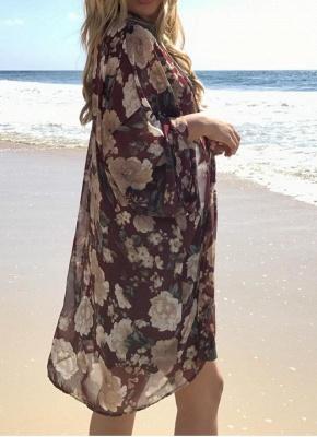Women Long Beach Cover Up Chiffon Kimono_3