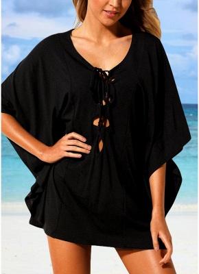 Women Beach Cover Up Lace Up Kaftan  Beachwear Loose Sexy Bikini Dress_2