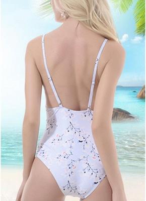 Women One Piece Sexy Bikini Floral Print Bandage Monokini Swimsuits_3
