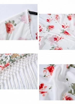 Fashion Floral Print Tassel Long Sleeve Chiffon Kimono_4