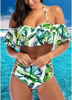 Pineapple Print Ruffle Swimsuit Cutout Push Up Sexy Bikini Set_1