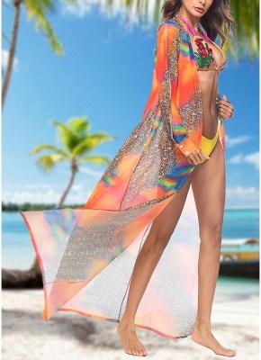 Women Leopard Print Chiffon Cardigan Sexy Bikini CoverUp Beach Boho Outwear Maxi Coverups_5