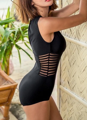 New  Women One-piece Swimsuit Mesh V Neck Hollow Out Solid Padded Beach  Swimwear Black_3
