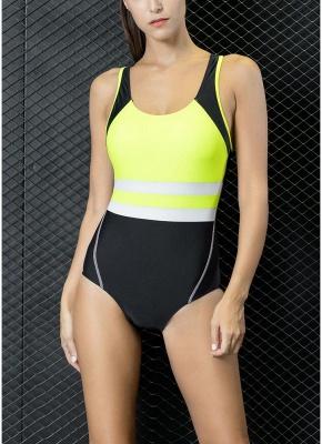 Women One-piece Swimsuit Contrast Color Padded Monokini  Swimwear_1