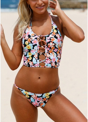 Floral Halter Lace Up Back Low Waist Strappy Sexy Bikini Set_1