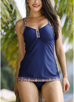 Print Trims Ruched Front Tankini Set_1