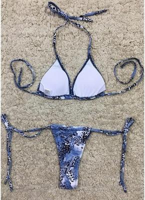 Women Sexy Bikini Set Halter Leopard Print Wireless Swimwear Swimsuits Two Piece_5