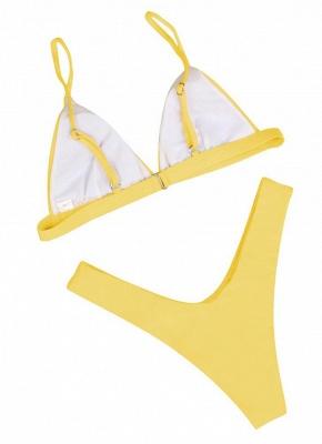 Women Thong Sexy Bikini Set Spaghetti Strap Two Piece Swimsuit Solid Bathing Suit_3
